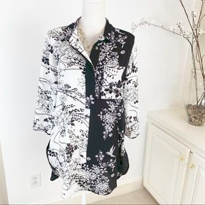 Anthropologie Fig & Flower Print Tunic Top M